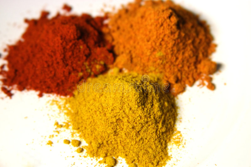 Three kinds of spice powders royalty free stock photography