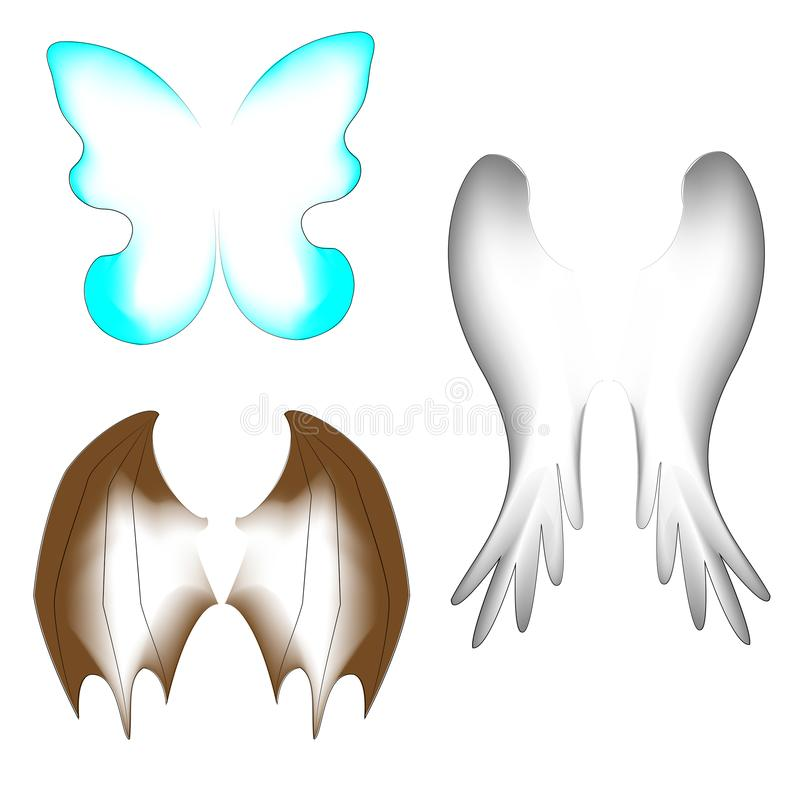Three kinds of wings. Wings of a butterfly, a bird, a dragon. Suitable for a fairy-tale costume, for creating a fantastic image. vector illustration