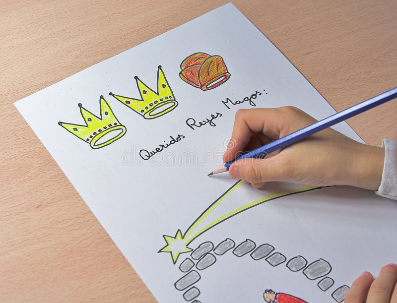 Three kings. Letter to the three kings written in spanish language stock photography
