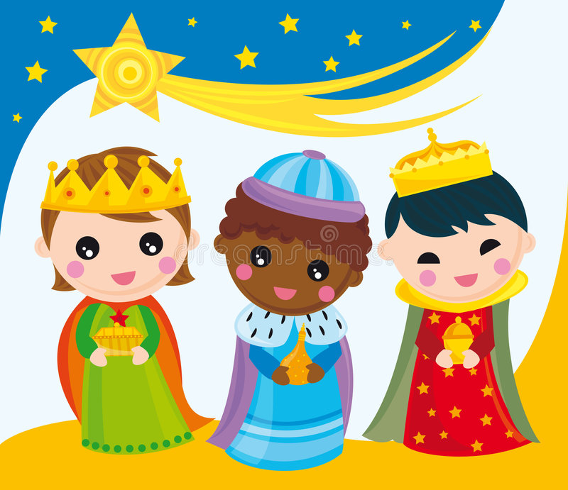 Three kings. Illustration of three kings with presents
