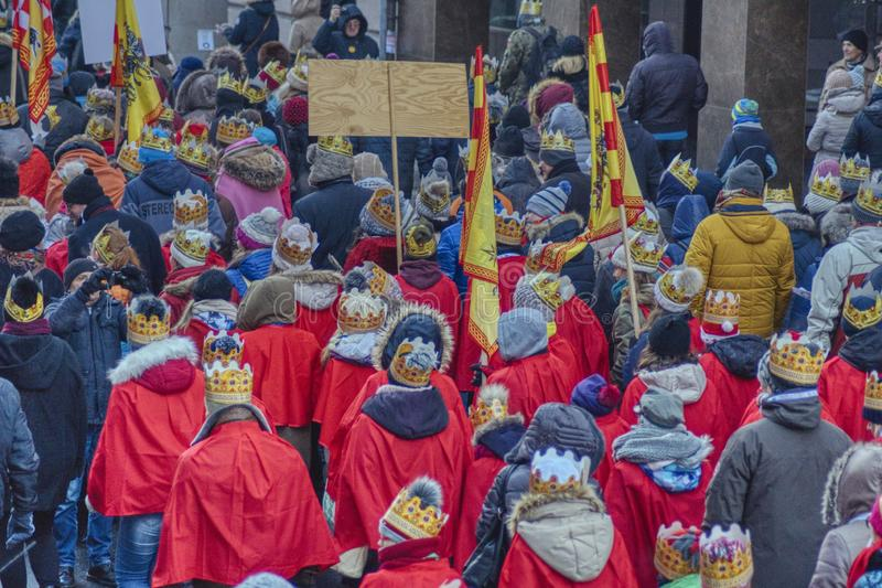 The three kings annual march on the Christian holiday stock photos