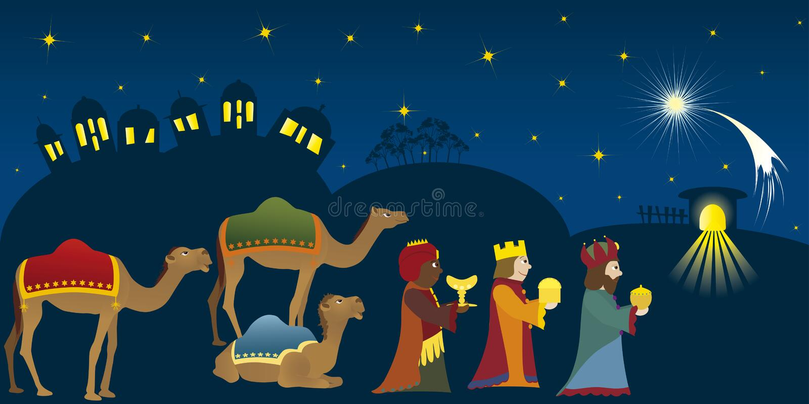 Three Kings in Bethlehem vector illustration