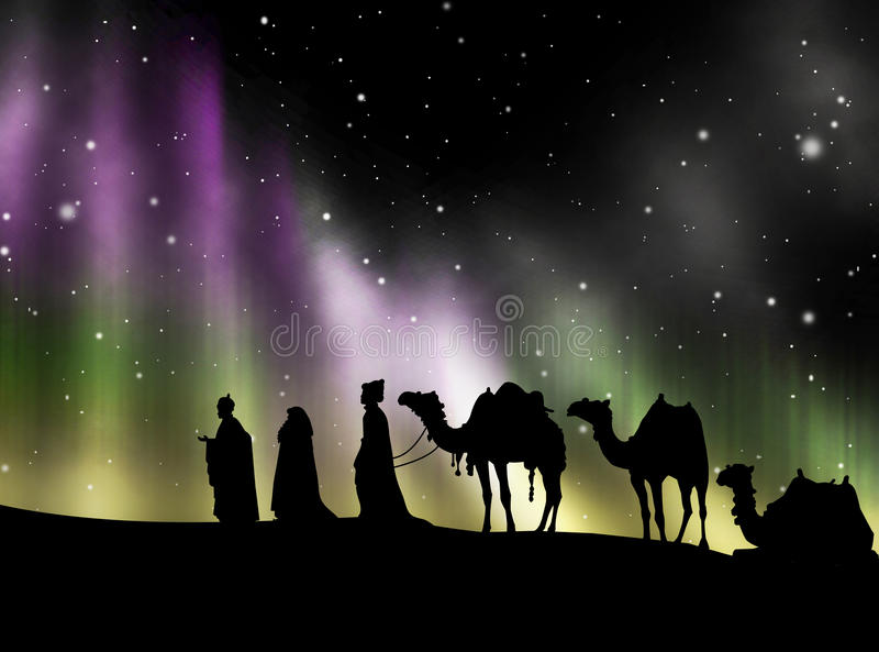 The Three Kings of Orient 2. The Three Kings of Orient Road Belem stock illustration