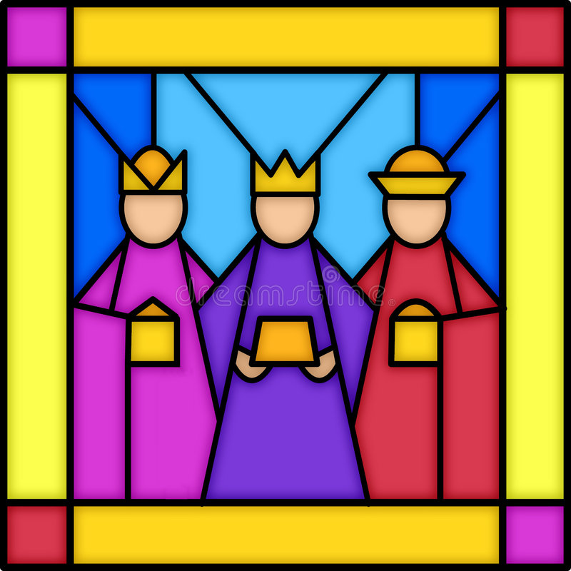 Three kings in stained glass. Illustration of a square stained glass panel with three kings...see matching panels in my portfolio...nativity, shepherds and angel