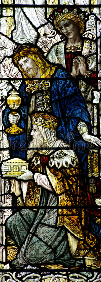 Three kings visiting Jesus (stained glass). A photo of the Three kings visiting Jesus (stained glass stock photography