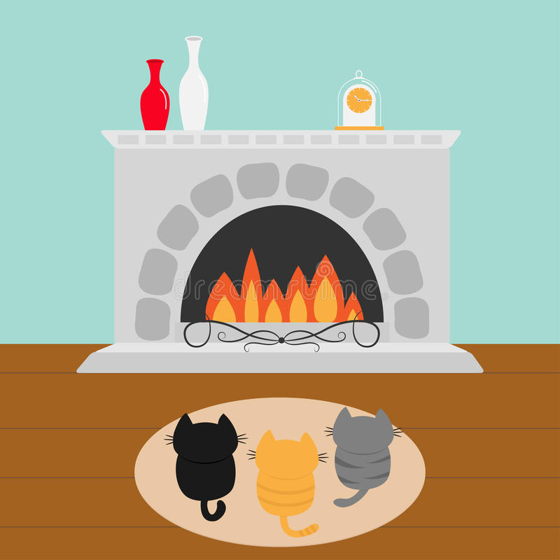 Three kittens on carpet rug looking to Fireplace with vase set and clock. Little cat family. Pet animal collection. Cute cartoon f vector illustration