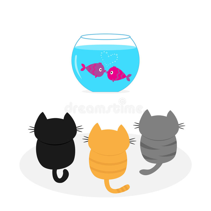 Three kittens looking to aquarium with fish set. Little cat family. royalty free illustration
