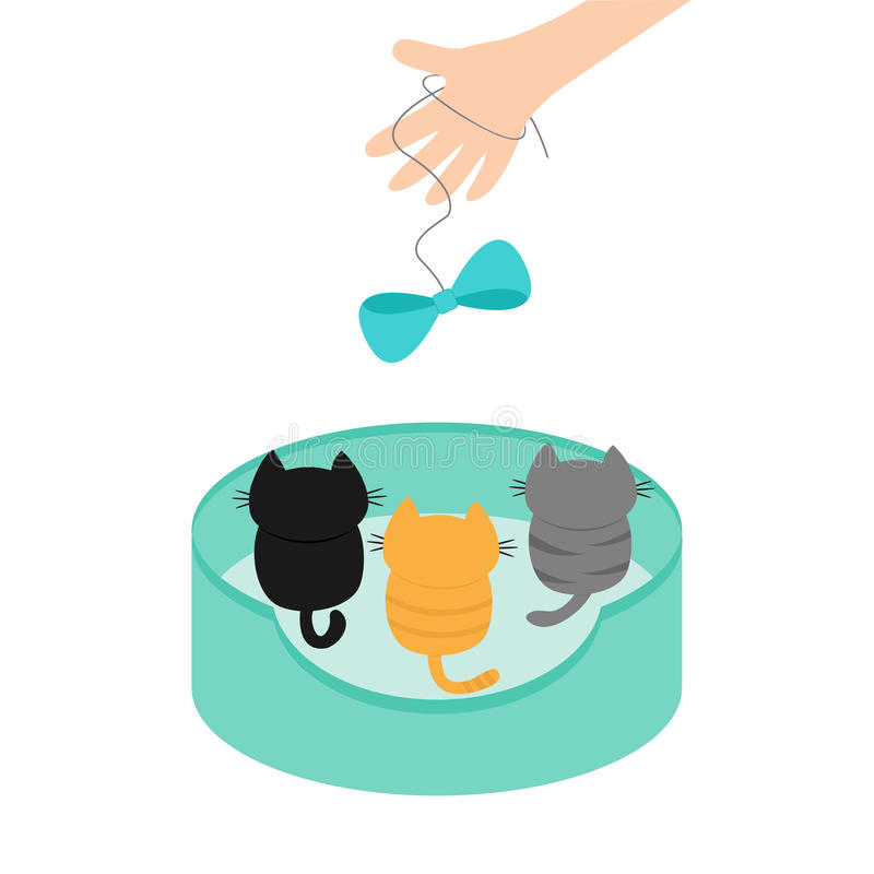Three kittens looking up to human hand and bow on rope. Cute cartoon funny character. Animal bed. Adopt me. Helping hands concept. Love card Flat design White vector illustration
