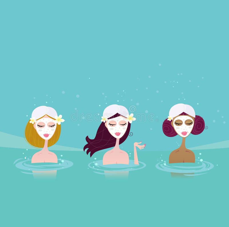 Download Three ladies in water spa stock vector. Illustration of clean - 13355158