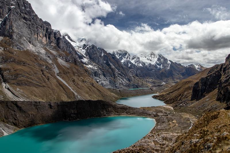 Tres lagunas in the Cordillera Huayhuash, Andes Mountains, Peru. The three lakes / tres lagunas in the Cordillera Huayhuash, Andes Mountains, Peru stock photos