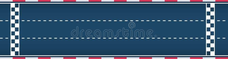Three-lane autosport race track. Motorsport background. Vector flat illustration. Three-lane autosport racing track. Motorsport background. Vector flat vector illustration