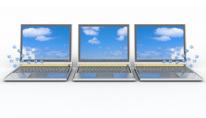 Three Laptops With A Screen From Puzzle Stock Photo