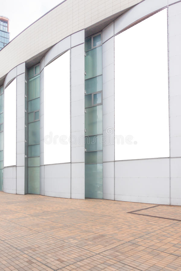 Three large blank mock up of store street showcase window stock photos