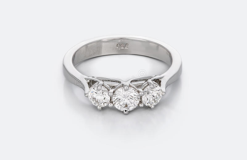 Large Diamond Solitaire Engagement or Wedding Ring stock photos