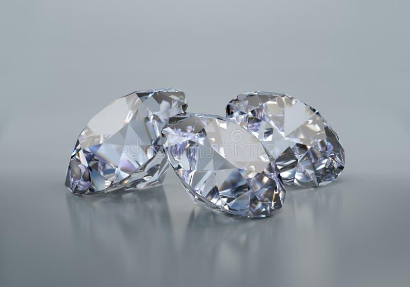 Three large diamonds vector illustration