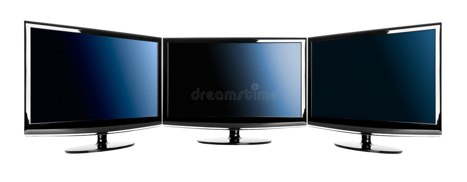 Three lcd TV's. Three modern lcd TV's isolated over a white background royalty free stock image