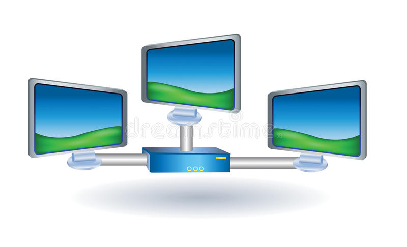 Three lcd tv monitor with stand royalty free illustration