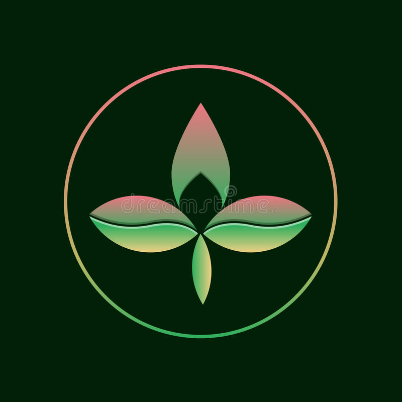 Three leaf gradient logo. Abstract eco logotype concept. Three leaf gradient logo. Abstract eco logotype concept of branding. Two color triple leaf and tree vector illustration