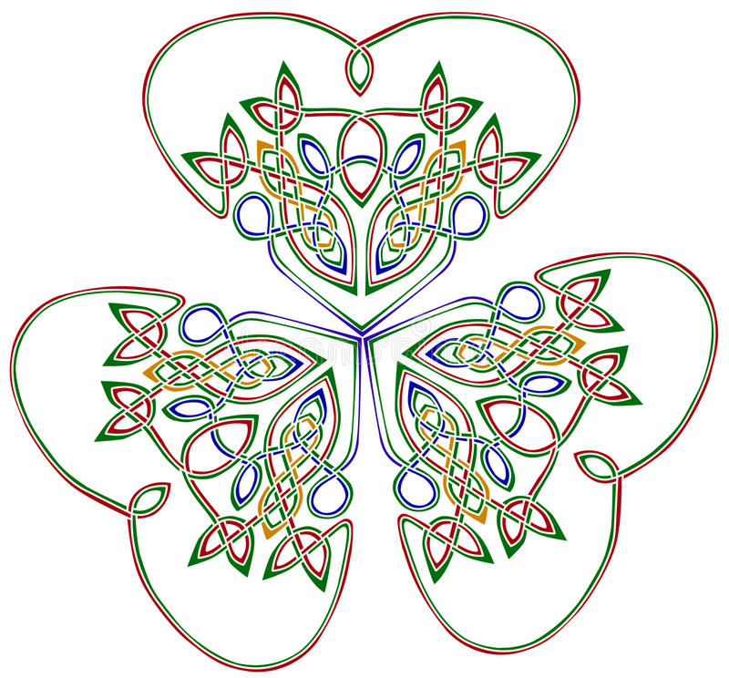Three leaf shamrock. Three leaf clover - trinity symbol in celtic style with many complicatedly interlacing wires, each having different color. Isolated on white royalty free illustration