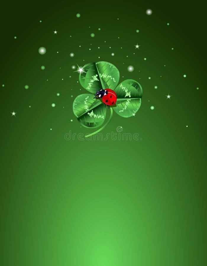 Download Three Leafed Clover And Ladybug Background Stock Vector - Illustration of holiday, ladybug: 18345236