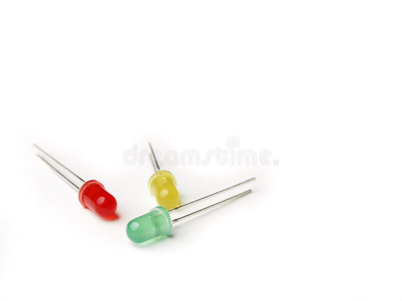 Three LEDs. (yellow, green, red) on the photo royalty free stock photo