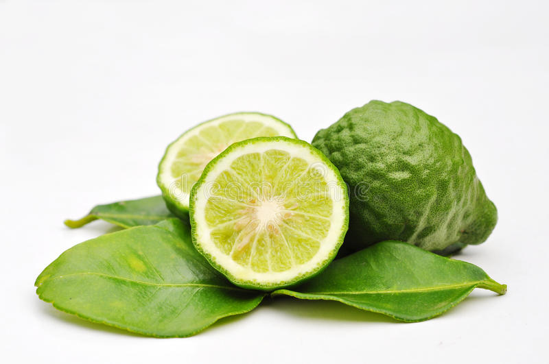 Three leech lime fruits isolated royalty free stock images
