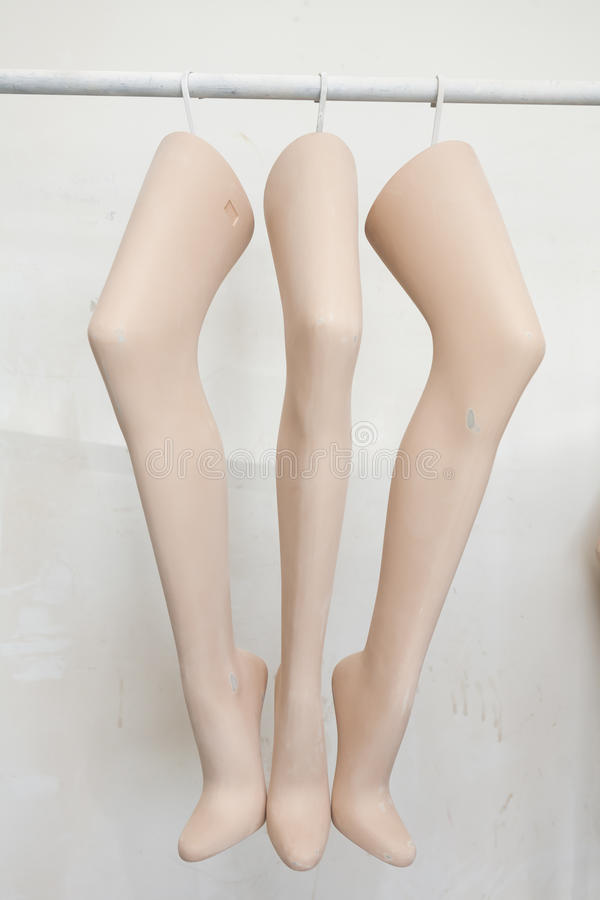 Three legs of mannequins stock photo