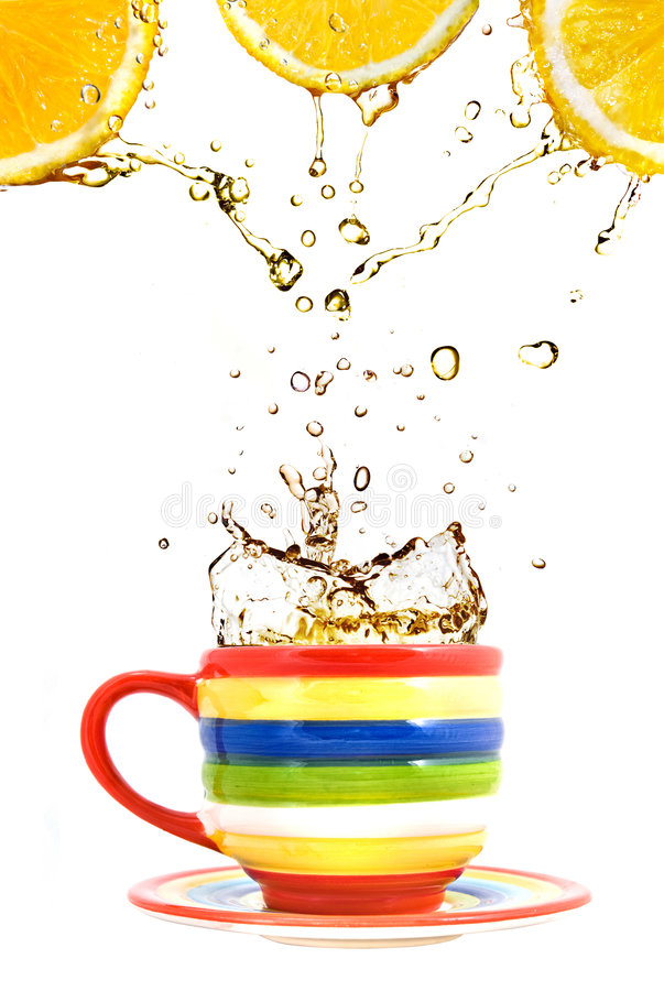 Free Three Lemons, Color Cup And Splash Of Tea Royalty Free Stock Images - 8055269