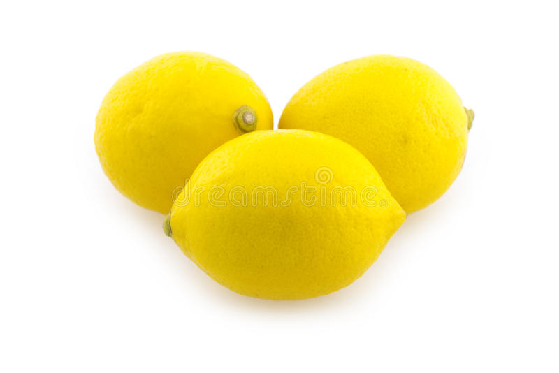 Lemon. Three lemons on white background stock photo