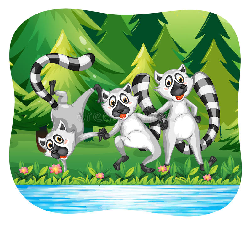 Three lemurs being happy by the river vector illustration
