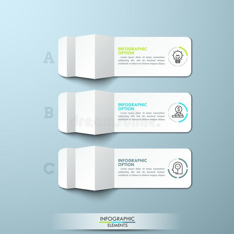 Three lettered pieces of folded white paper. With thin line icons and text boxes. Minimal infographic design layout. 3 steps to business success concept. Vector royalty free illustration