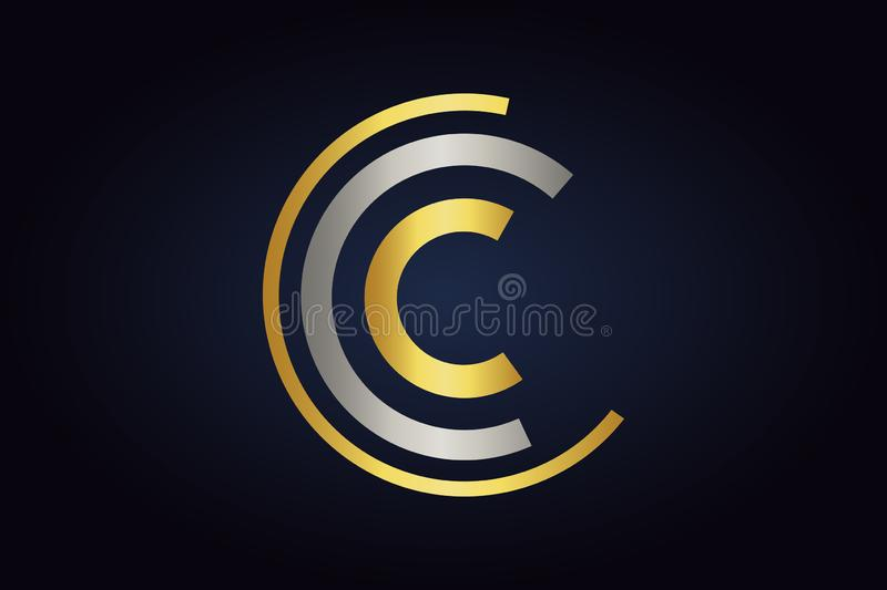 Three Letters C vector logo in silver and gold colors isolated on dark background. Unfinished circle logo. Letter C minimalistic monogram vector illustration