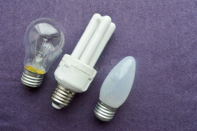 Three light bulbs. stock photo