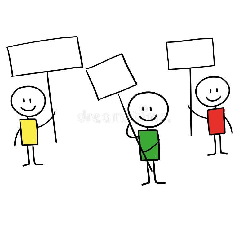 line men holding signs  cartoon style illustration stock