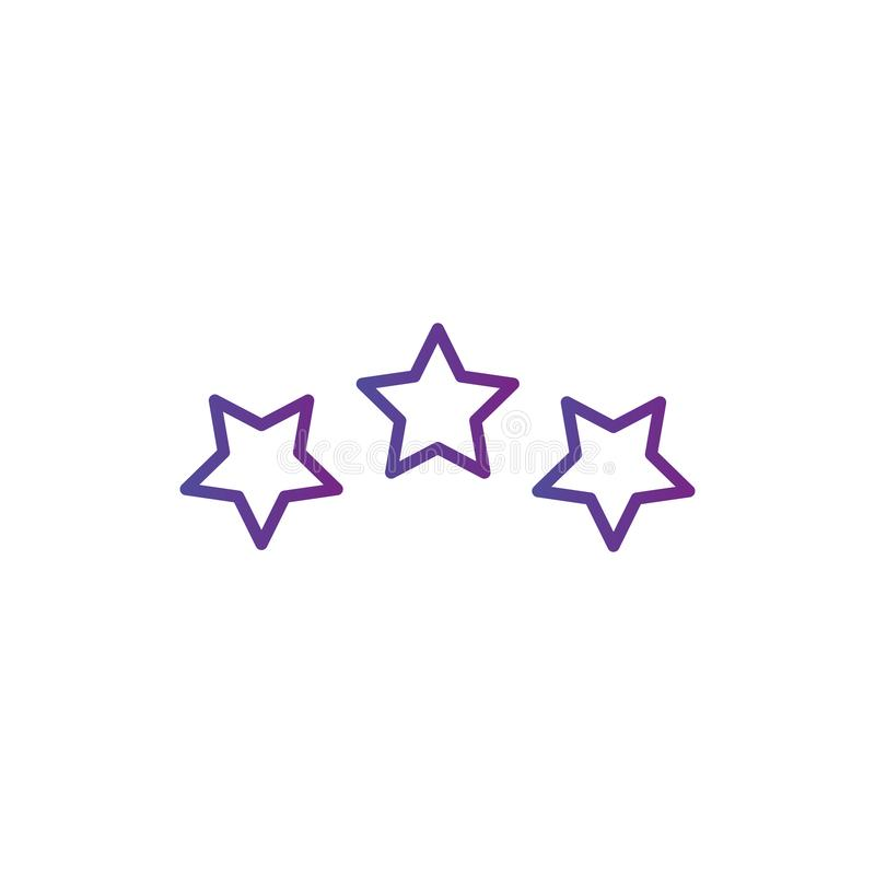 Three linear score stars in circle geometric shape. linear icon. Vector illustration isolated on white background vector illustration