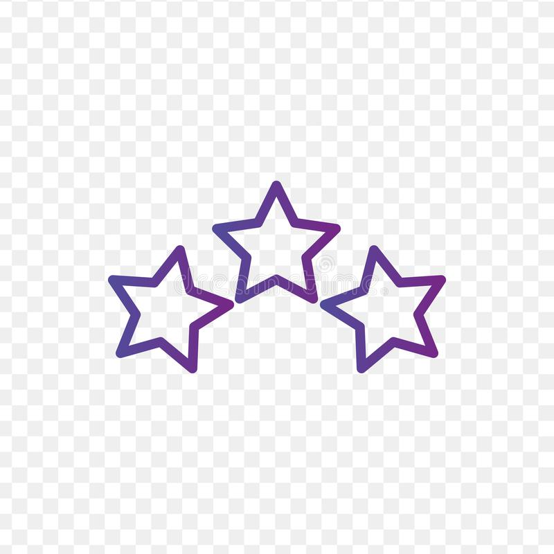 Three linear score stars in circle. linear icon. three stars. Vector illustration isolated on transparent background royalty free illustration