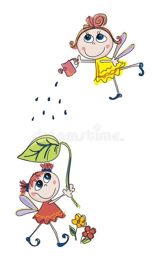 Three litle fairies vector illustration