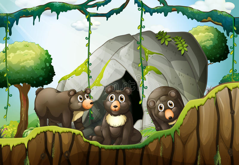 Three little bears by the cave royalty free illustration