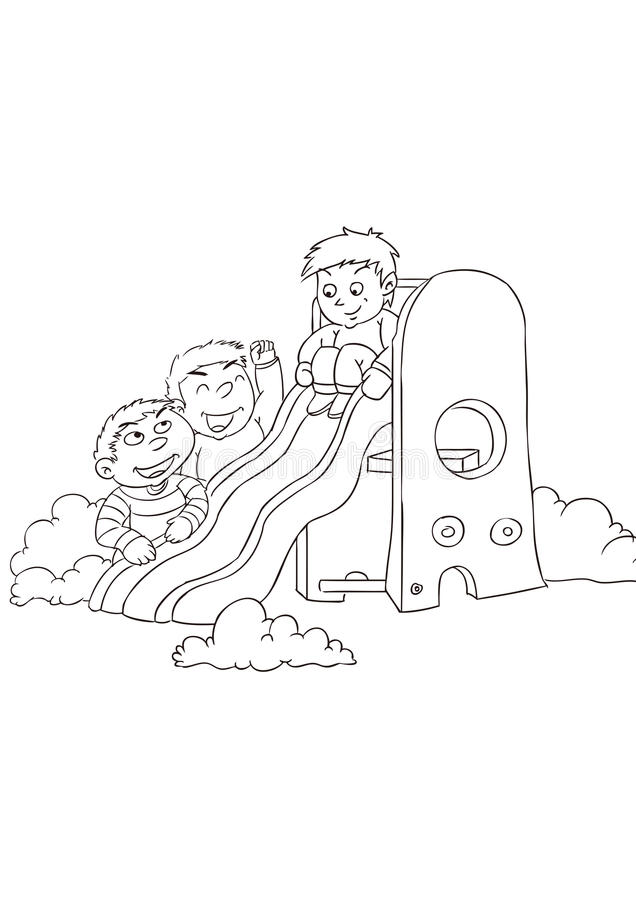 Three little boys play with a slide royalty free illustration