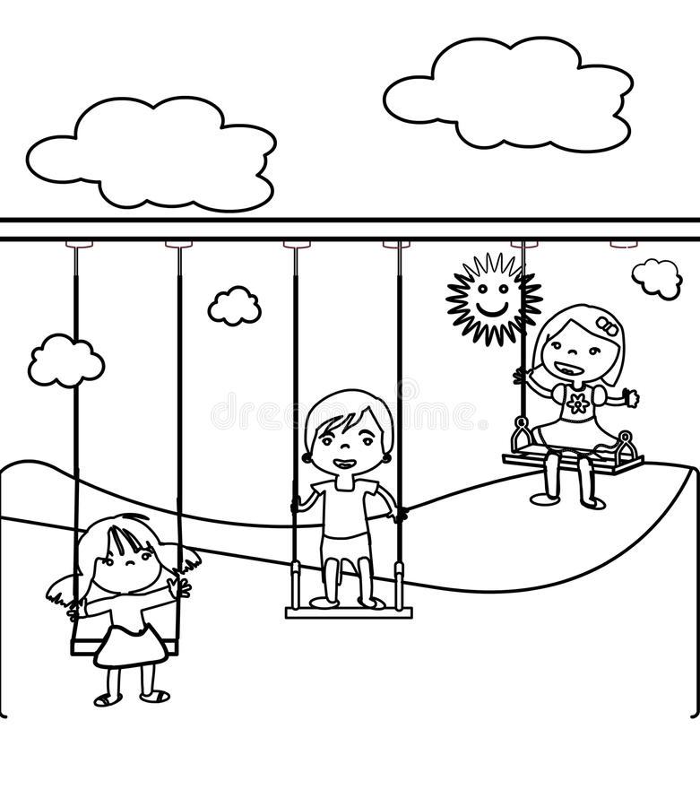 Download Three Little Children Coloring Page Stock Illustration    Illustration Of Elementary, Character: 87361327