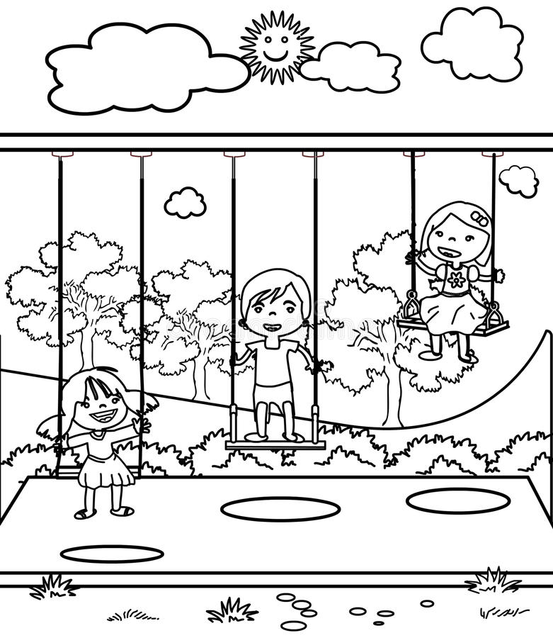 Download Three Little Children Coloring Page Stock Illustration