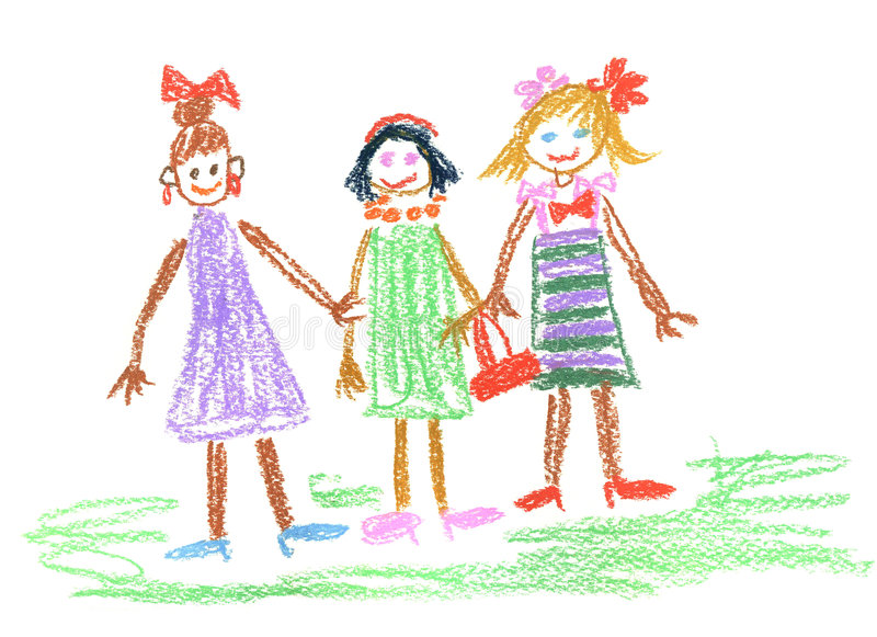 Download Three little girls stock illustration. Image of dress - 6410342