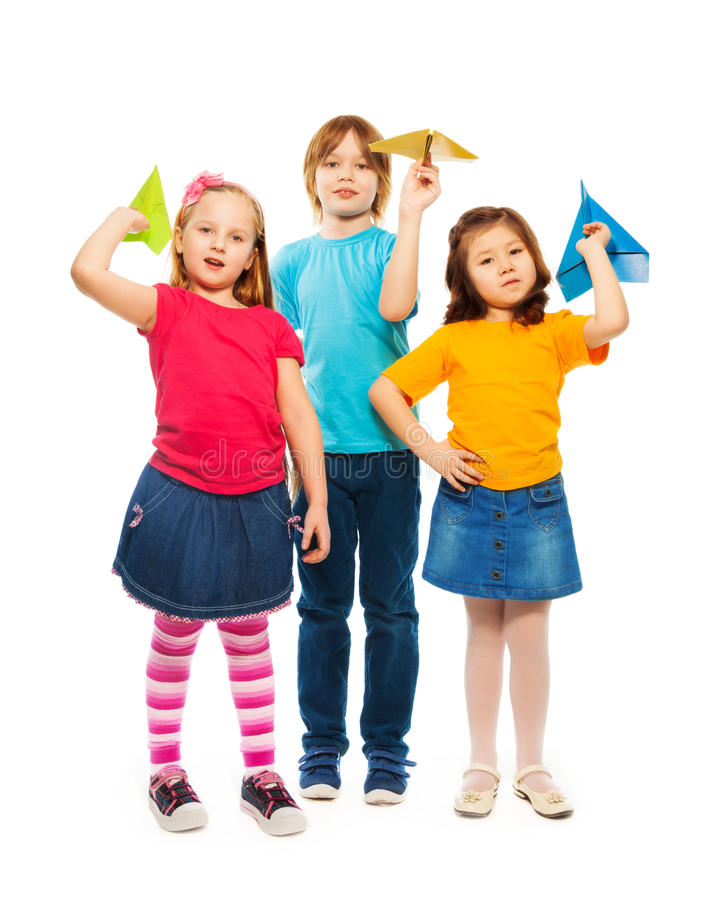 Kids and paper plane stock photo