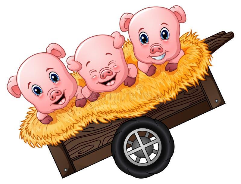 Three little pig cartoon on the cart. Illustration of Three little pig cartoon on the cart vector illustration