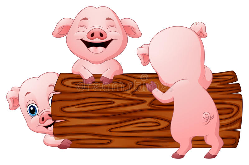 Three little pig cartoon in the log. Illustration of Three little pig cartoon in the log royalty free illustration