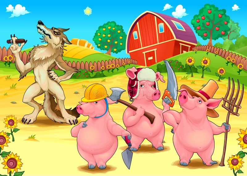 Three little pigs and bad wolf. vector illustration