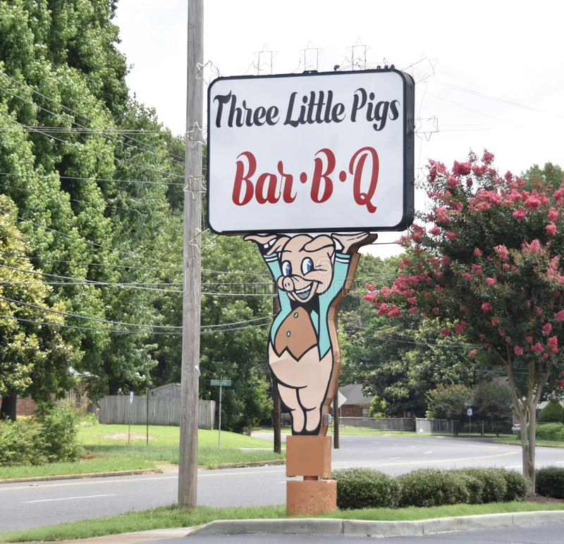 Three Little Pigs Bar-B-Q Sign, Memphis, TN. Three Little Pigs Barbecue in Memphis, TN has been around for a long time. He has several restaurants in the East stock photos