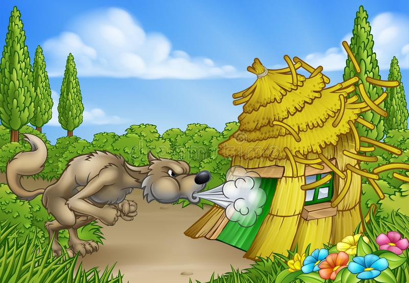 Three Little Pigs Big Bad Wolf Blowing Down House stock illustration