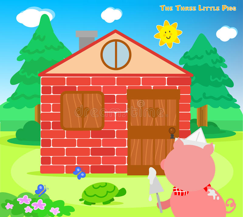 The three little pigs 8: bricks house finished stock illustration