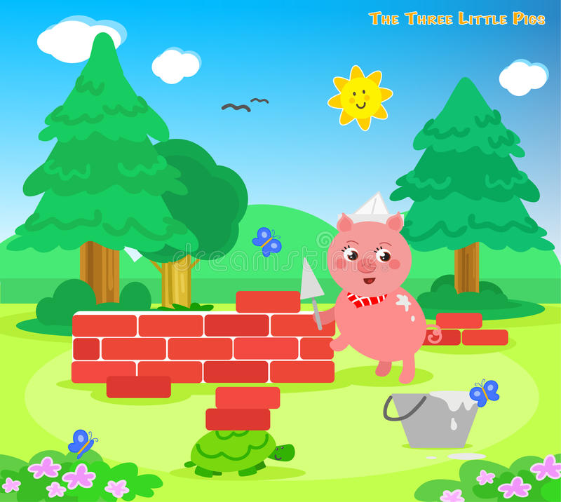 The three little pigs 7: the bricks house. The third piglet builds a bricks house. Vector for children royalty free illustration